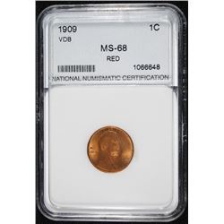 1909 VDB LINCOLN CENT, NNC GRADED SUPERB GEM BU RED,  BLAZING RED CHERRY!