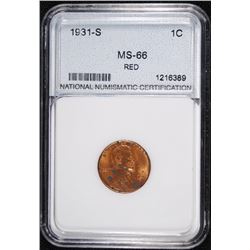1931-S LINCOLN CENT, NNC GRADED GEM BU RED  HAS SPOTS OBVERSE