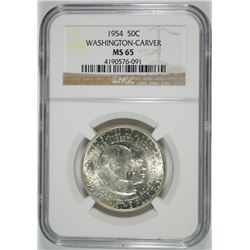 1954 WASHINGTON CARVER HALF DOLLAR, NGC MS-65
