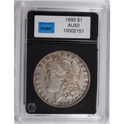 1893 MORGAN SILVER DOLLAR, CCGS  AU  KEY COIN!