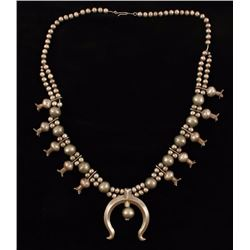 Silver Double Row Squash Blossom Necklace