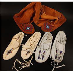 3 Pairs Indian Made Moccasins
