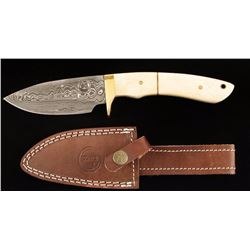 B Series Damascus Steel Drop Point Skinner
