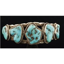 Mens Navajo Turquoise Nugget Cuff Bracelet
