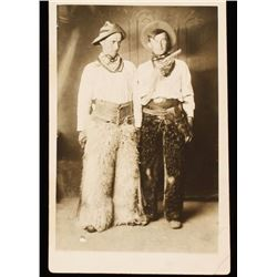 Two Cowboys Wearing Wooly Chaps Photo