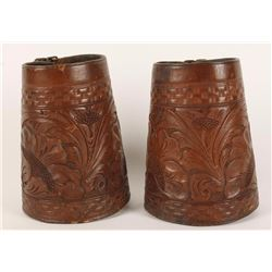 Pair of Finely Tooled Cowboy Cuffs