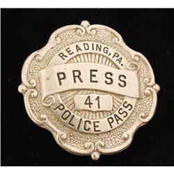 Reading PA Press Police Pass