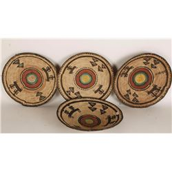 Collection of 4 Ethnic Figural Basketry Trays