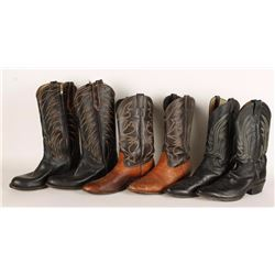 Lot of 3 Pairs of Mens Cowboy Boots