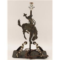 Old West Style Cowboy on Bucking Bronco Lamp