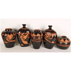 Lot of 5 Incised Carved Pottery Pieces