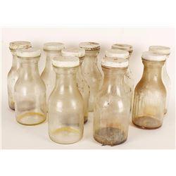 Lot of 11 Glass Milk Bottles