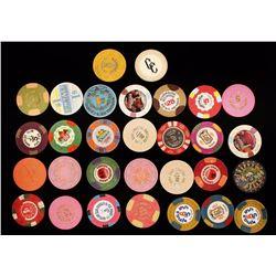 Lot of 30 Obsolete Nevada Gambling Poker Chips