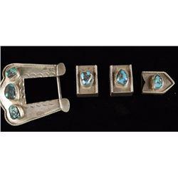 Navajo Sterling Silver Belt and Keeper Set