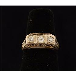 Timeless Art Deco 3 Stone Diamond Ring