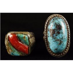 2 Large Mens Navajo Rings