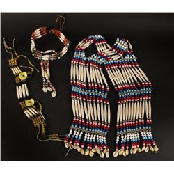 Collection of 3 Indian Beaded Bone Necklaces