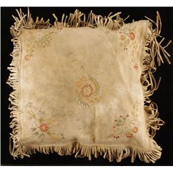 Metis Embroidered Leather Pillow