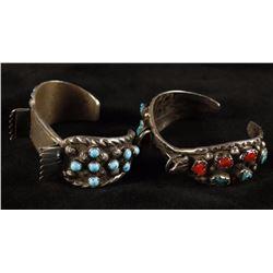 Pair of Ladies Navajo Watchband Cuffs