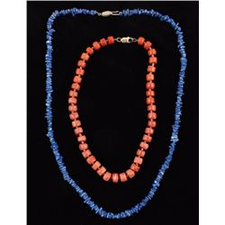 Lapis and Coral Necklaces