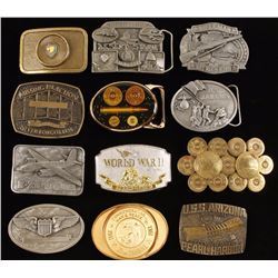 Large Lot of Military Related Belt Buckles
