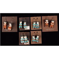 6 Pairs of Clay Figural Earrings