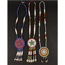Lot of 3 Beaded Necklaces with Beaded Conchos