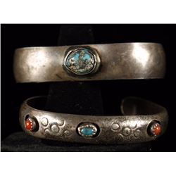 Collection of 2 Navajo Sterling Cuffs