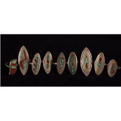 Lot of 9 Zuni Rings