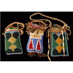 Lot of 3 Beaded Possibles Bags