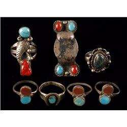 Lot of 7 Native American Rings