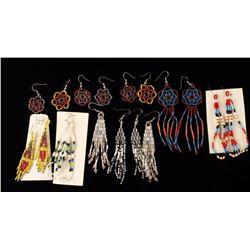 Lot of 9 Native American Beaded Earrings