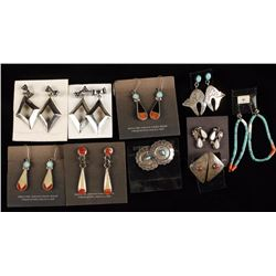 Collection of 9 Native American Earrings
