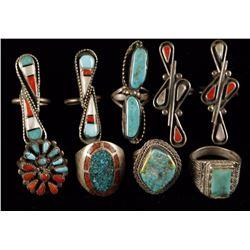 Lot of 9 Native American Rings
