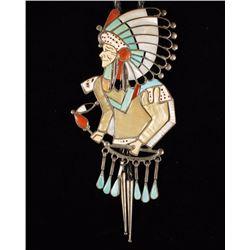 Zuni Inlaid Indian Chief Bolo Tie