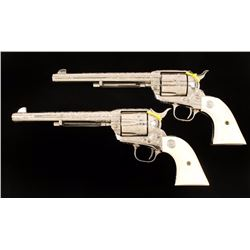 Cased Pair of Engraved Colt S.A.A.s