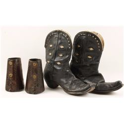 Pair of Cowboy Cuffs And Cowboy Boots