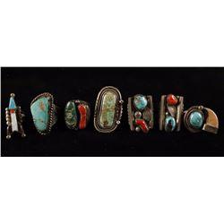 Lot of 8 Native American Rings
