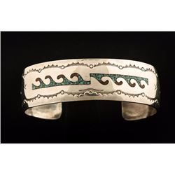 Sterling Turquoise & Coral Chip Inlay Cuff