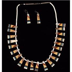 Bone Inlaid Necklace & Earring Set