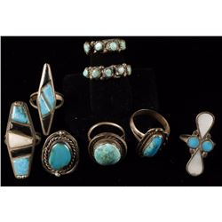 Lot of 8 Navajo Rings
