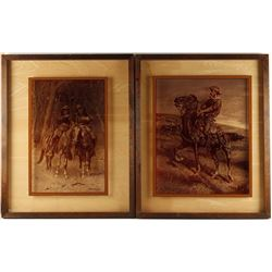 Collection of 2 Frederic Remington Prints on Glass
