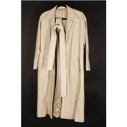 Lady's White Leather Trench Coat