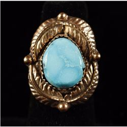 Navajo Turquoise & 14K Yellow Gold Ring Set