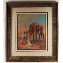 Fine Art Print of Cowboy & Horse