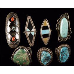 Lot of 7 Navajo Rings