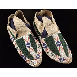 Beautiful Pair of Crow Beaded Moccasins