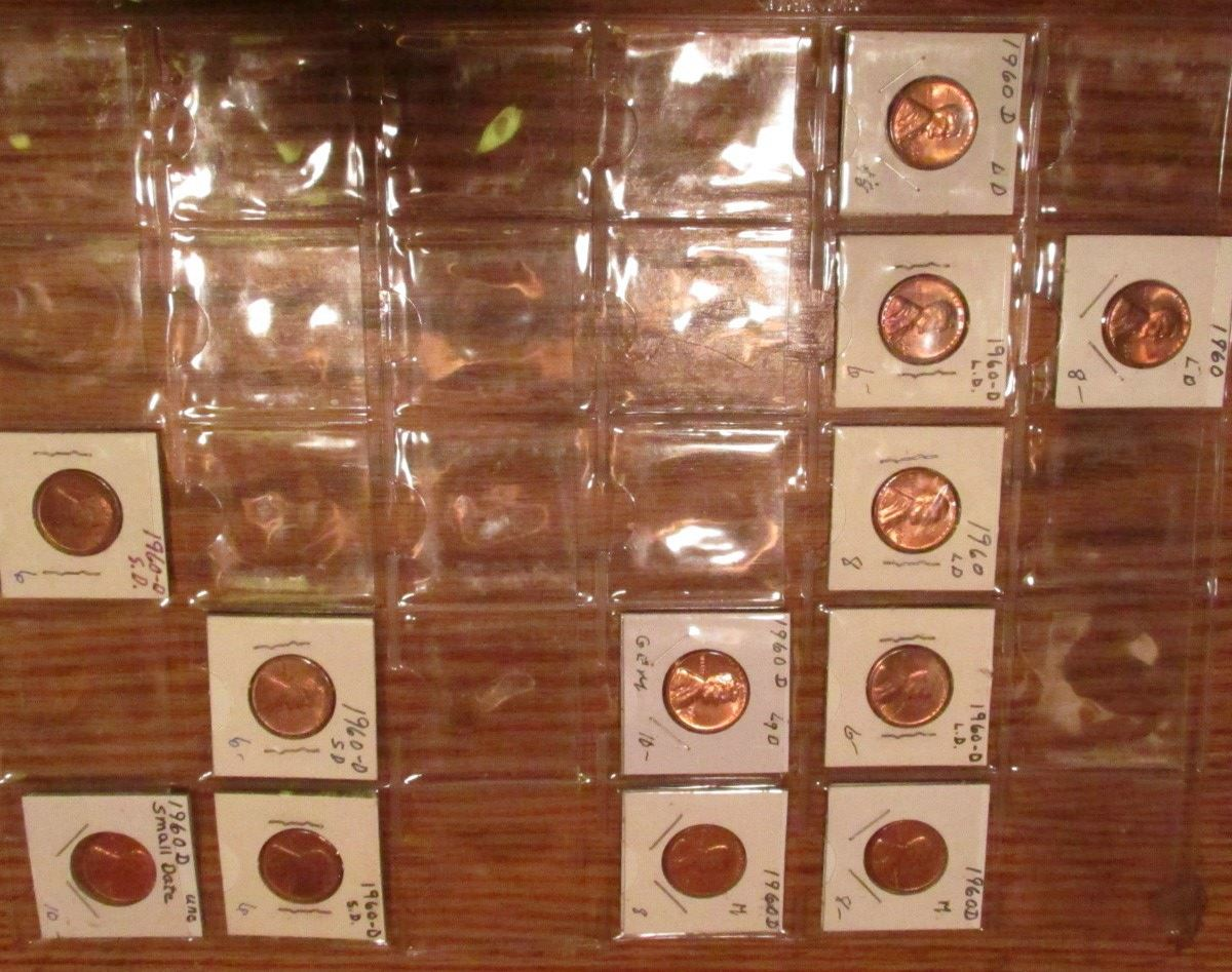 BUY FOR $1 LOT OF 5 1960 D SMALL DATE LINCOLN CENTS BU