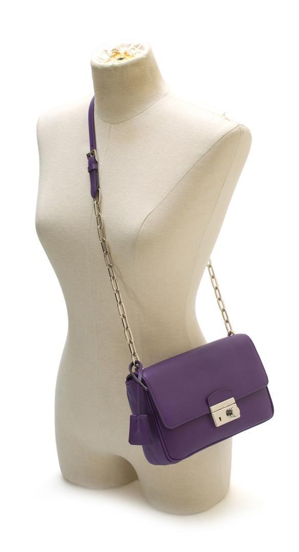 3a8cd48a06 ... Image 3 : Prada Purple Saffiano Leather Shoulder Bag ...