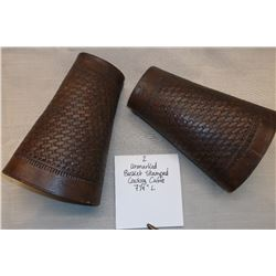 "Unmarked Basket Stamped Cowboy Cuffs.  7 1/4"" L"